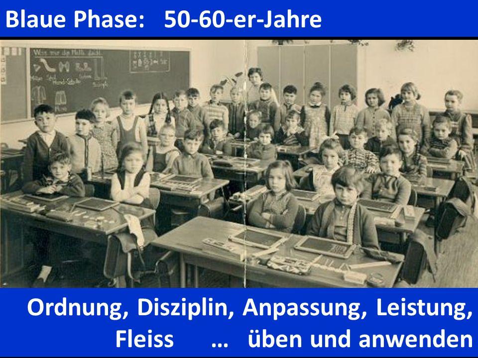 Blaue Phase: 50-60-er-Jahre Ordnung, Disziplin, Anpassung, Leistung, Fleiss … üben und anwenden