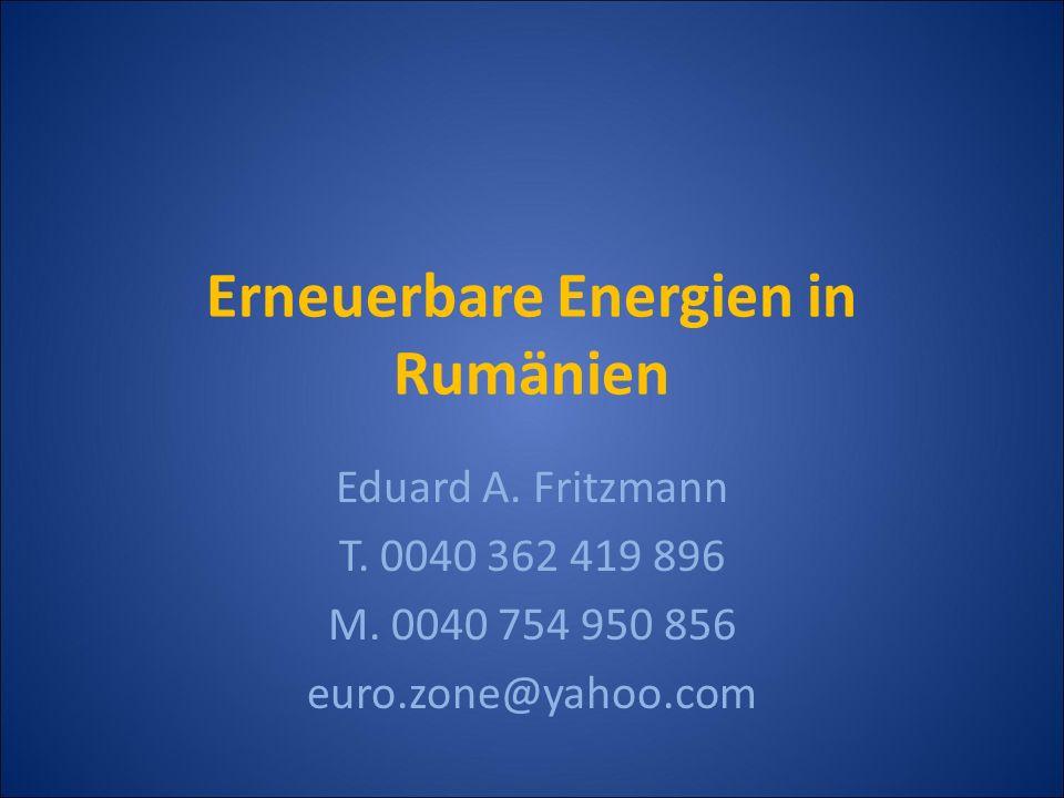 Erneuerbare Energien in Rumänien Wirtschaftliche Potenziale Installierte Photovoltaik RumänienJahr 0,089 MWp2006 0,11 MWp2007 0,5 MWp2008 Solarenergie in Rumänien Quelle: EC, Eurostat Nutzung Erneuerbare Energie EEDeutschlandRumänien 2008 Solarthermie (1.000 m 2 ) (MW th ) 11.317 7.922 80 56 Photovoltaik(kW p )5.351.000450