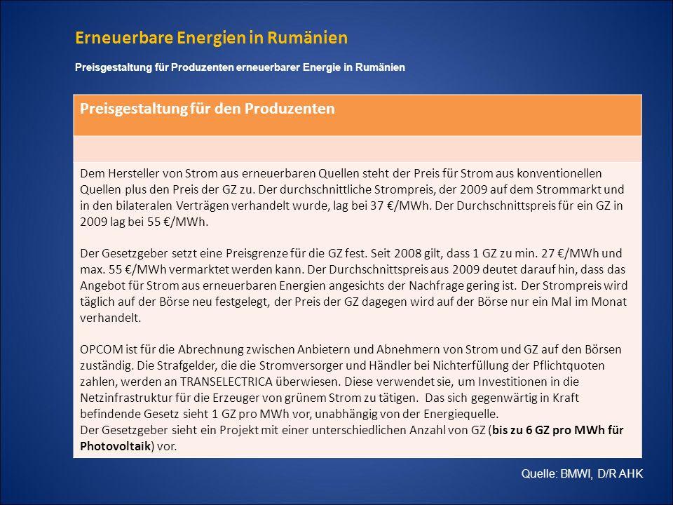 Erneuerbare Energien in Rumänien Preisgestaltung für den Produzenten Dem Hersteller von Strom aus erneuerbaren Quellen steht der Preis für Strom aus k