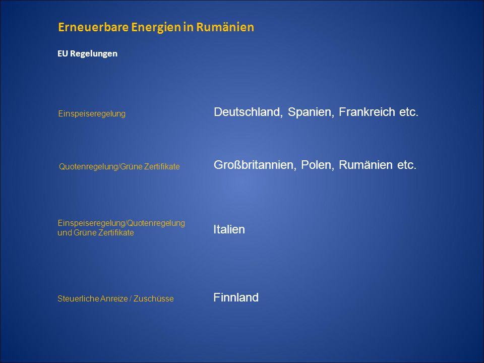 Erneuerbare Energien in Rumänien EU Regelungen Einspeiseregelung Deutschland, Spanien, Frankreich etc. Quotenregelung/Grüne Zertifikate Großbritannien