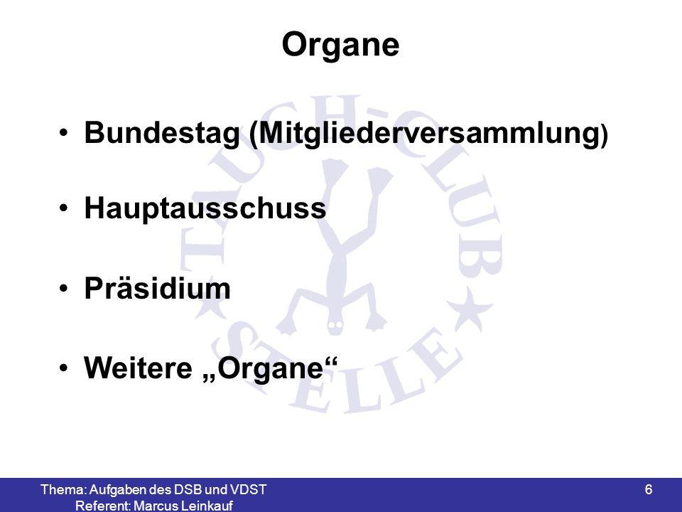 Thema: Aufgaben des DSB und VDST Referent: Marcus Leinkauf 6 Organe Bundestag (Mitgliederversammlung ) Hauptausschuss Präsidium Weitere Organe