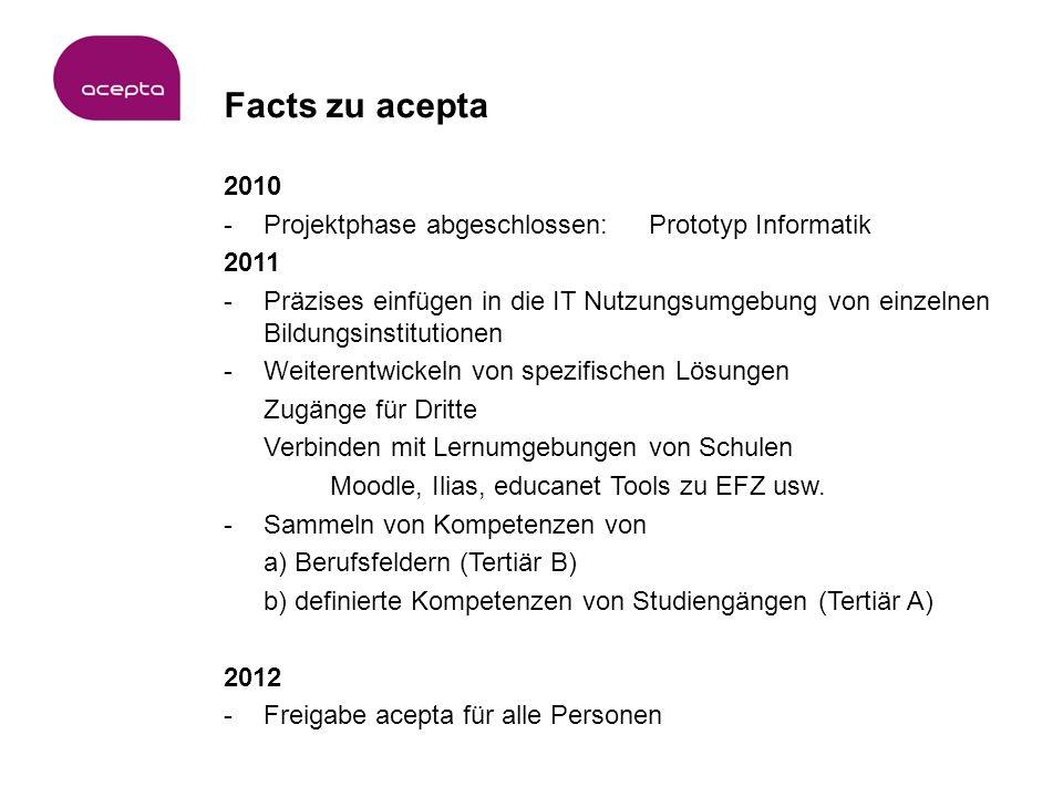 Facts zu acepta 2010 -Projektphase abgeschlossen: Prototyp Informatik 2011 -Präzises einfügen in die IT Nutzungsumgebung von einzelnen Bildungsinstitutionen -Weiterentwickeln von spezifischen Lösungen Zugänge für Dritte Verbinden mit Lernumgebungen von Schulen Moodle, Ilias, educanet Tools zu EFZ usw.
