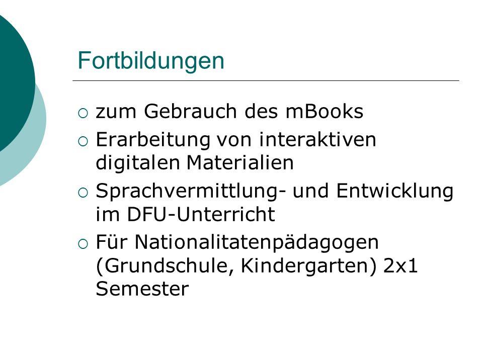 Fortbildungen zum Gebrauch des mBooks Erarbeitung von interaktiven digitalen Materialien Sprachvermittlung- und Entwicklung im DFU-Unterricht Für Nati