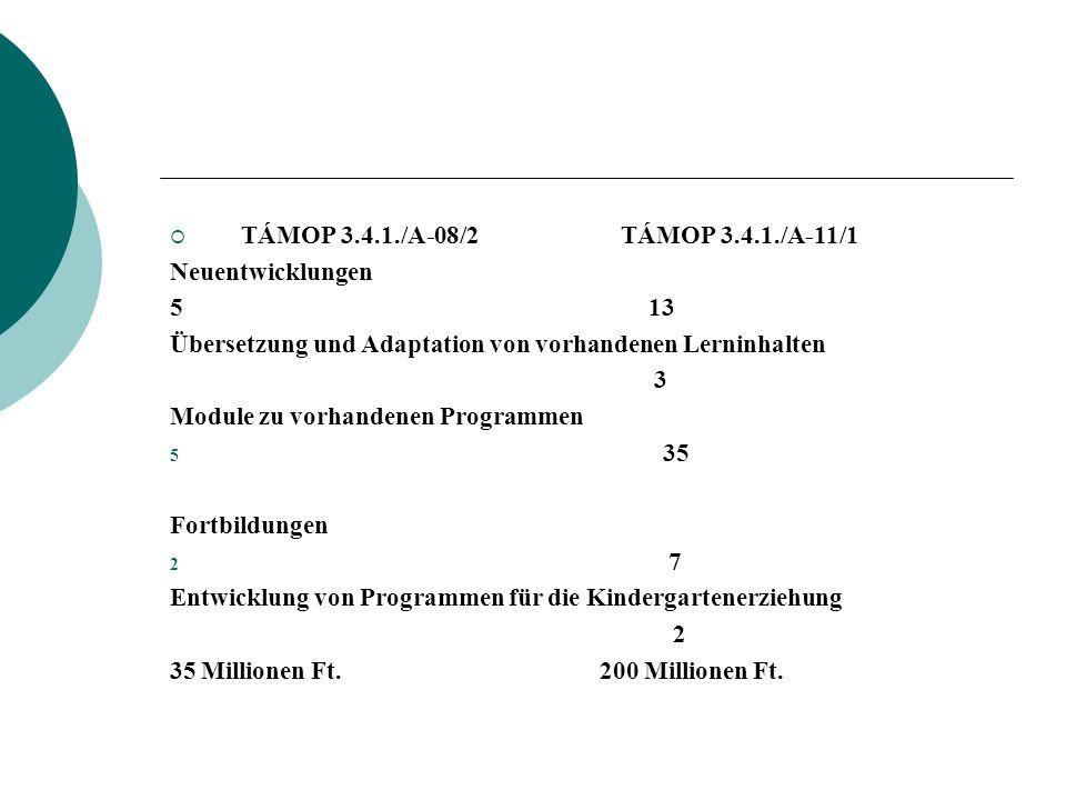 TÁMOP 3.4.1./A-08/2 TÁMOP 3.4.1./A-11/1 Neuentwicklungen 5 13 Übersetzung und Adaptation von vorhandenen Lerninhalten 3 Module zu vorhandenen Programm