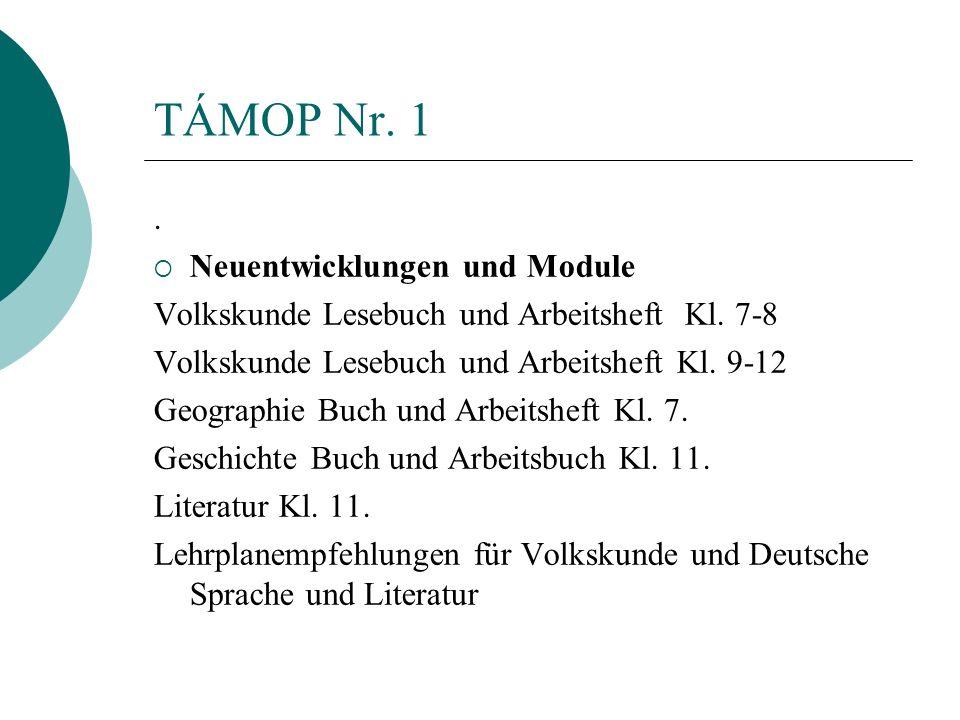 TÁMOP Nr. 1. Neuentwicklungen und Module Volkskunde Lesebuch und Arbeitsheft Kl. 7-8 Volkskunde Lesebuch und Arbeitsheft Kl. 9-12 Geographie Buch und