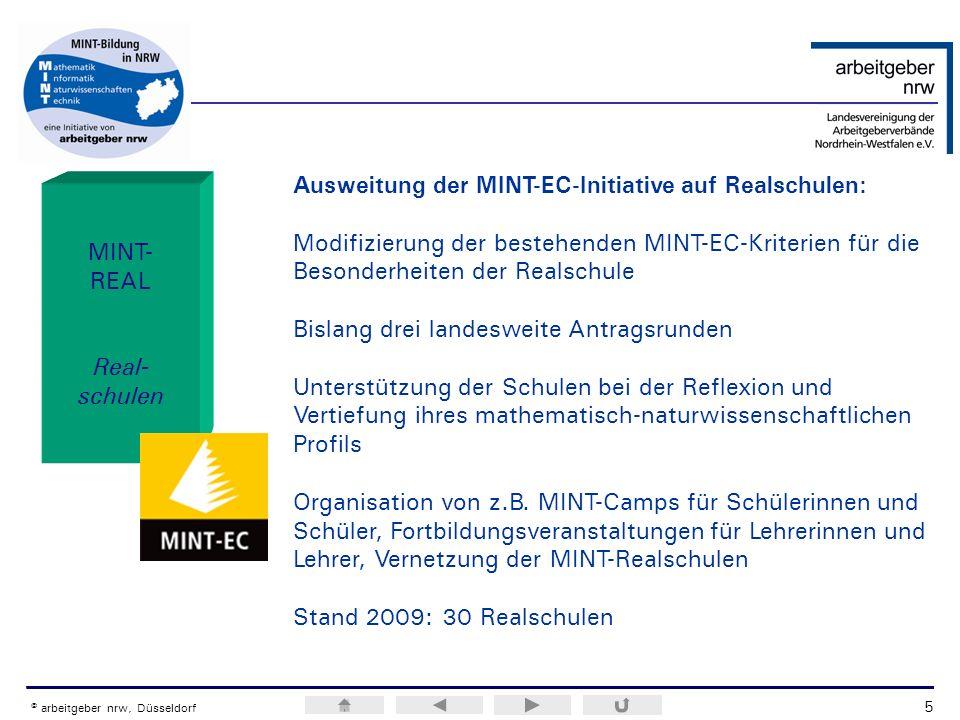 ERA / H.M.Weiss © arbeitgeber nrw, Düsseldorf MINT- REAL Real- schulen Ausweitung der MINT-EC-Initiative auf Realschulen: Modifizierung der bestehende