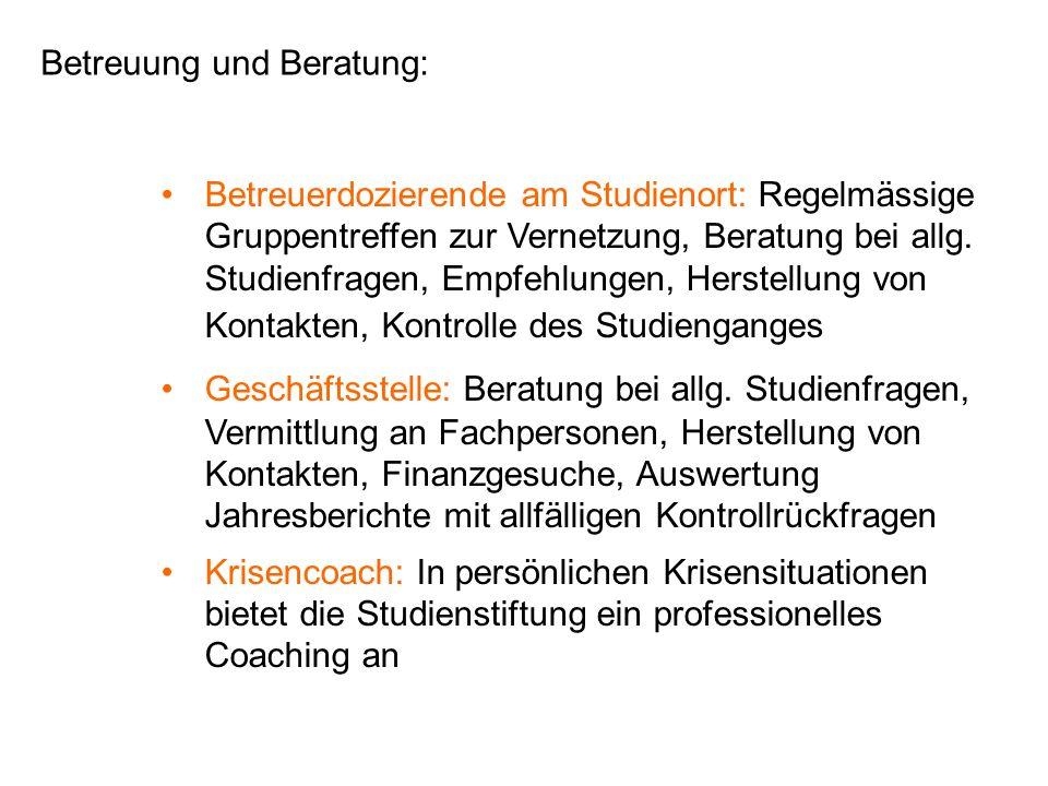 Betreuung und Beratung: Betreuerdozierende am Studienort: Regelmässige Gruppentreffen zur Vernetzung, Beratung bei allg.
