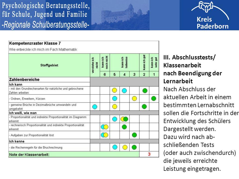 III. Abschlusstests/ Klassenarbeit nach Beendigung der Lernarbeit Nach Abschluss der aktuellen Arbeit in einem bestimmten Lernabschnitt sollen die For