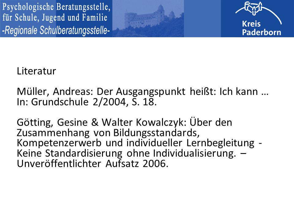 Literatur Müller, Andreas: Der Ausgangspunkt heißt: Ich kann … In: Grundschule 2/2004, S.