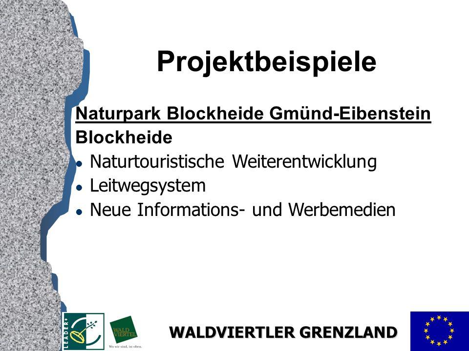 WALDVIERTLER GRENZLAND Projektbeispiele Naturpark Blockheide Gmünd-Eibenstein Blockheide l Naturtouristische Weiterentwicklung l Leitwegsystem l Neue Informations- und Werbemedien