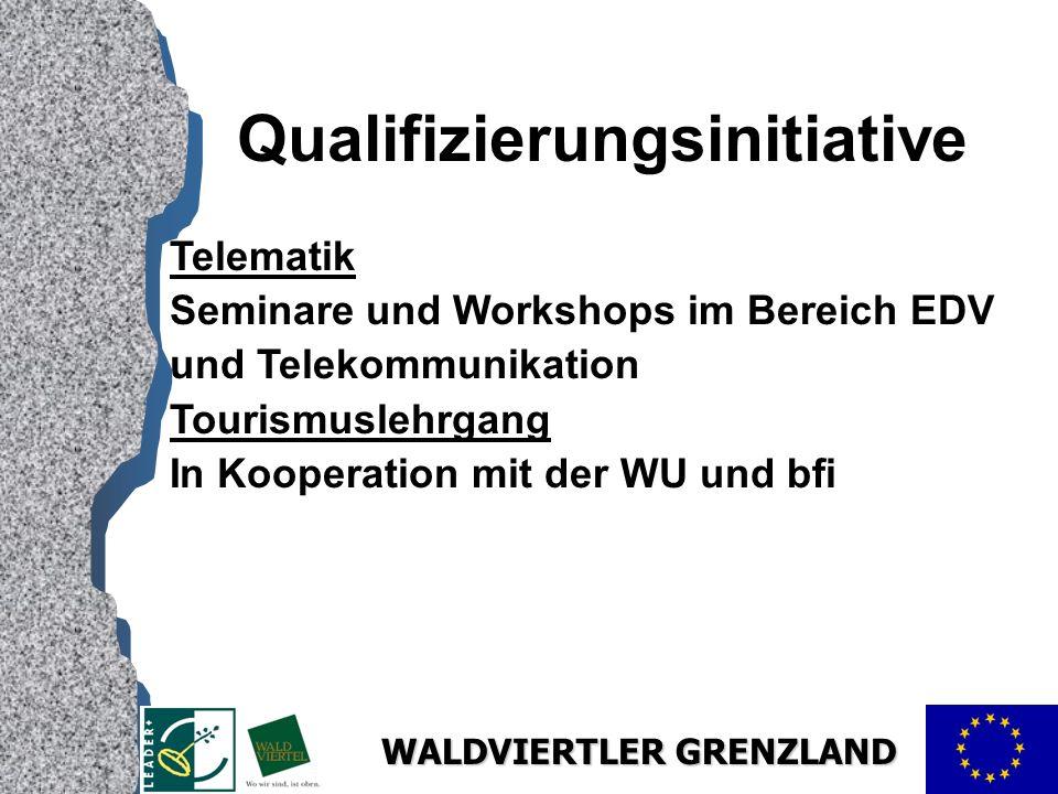 WALDVIERTLER GRENZLAND Qualifizierungsinitiative Telematik Seminare und Workshops im Bereich EDV und Telekommunikation Tourismuslehrgang In Kooperation mit der WU und bfi