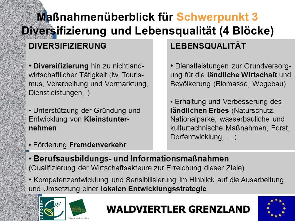 WALDVIERTLER GRENZLAND Maßnahmenüberblick für Schwerpunkt 3 Diversifizierung und Lebensqualität (4 Blöcke) DIVERSIFIZIERUNG Diversifizierung hin zu nichtland- wirtschaftlicher Tätigkeit (lw.