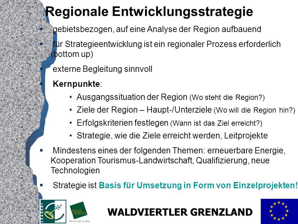 WALDVIERTLER GRENZLAND Regionale Entwicklungsstrategie gebietsbezogen, auf eine Analyse der Region aufbauend für Strategieentwicklung ist ein regionaler Prozess erforderlich (bottom up) externe Begleitung sinnvoll Kernpunkte: Ausgangssituation der Region (Wo steht die Region?) Ziele der Region – Haupt-/Unterziele (Wo will die Region hin?) Erfolgskriterien festlegen (Wann ist das Ziel erreicht?) Strategie, wie die Ziele erreicht werden, Leitprojekte Mindestens eines der folgenden Themen: erneuerbare Energie, Kooperation Tourismus-Landwirtschaft, Qualifizierung, neue Technologien Strategie ist Basis für Umsetzung in Form von Einzelprojekten!