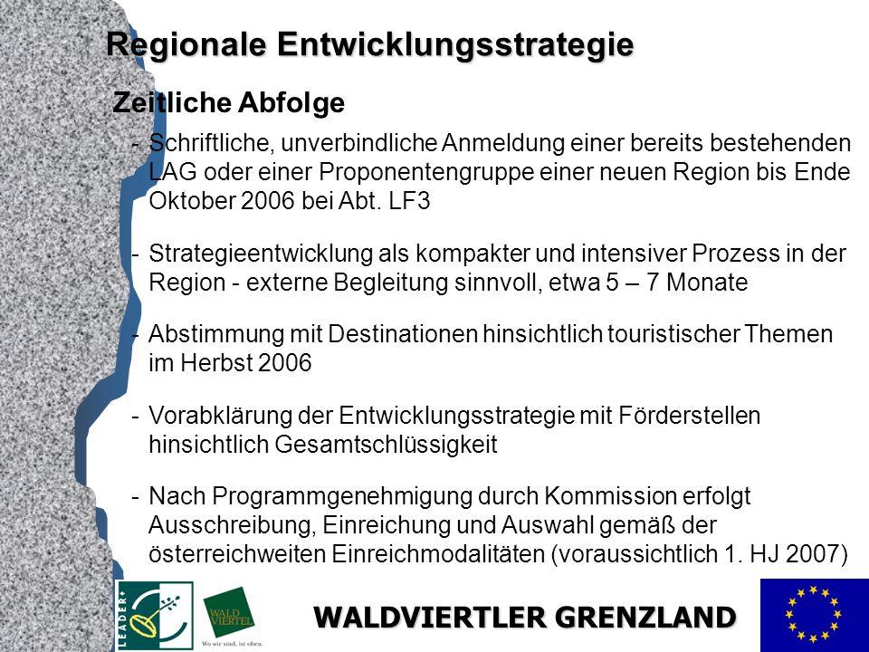 WALDVIERTLER GRENZLAND Zeitliche Abfolge -Schriftliche, unverbindliche Anmeldung einer bereits bestehenden LAG oder einer Proponentengruppe einer neuen Region bis Ende Oktober 2006 bei Abt.