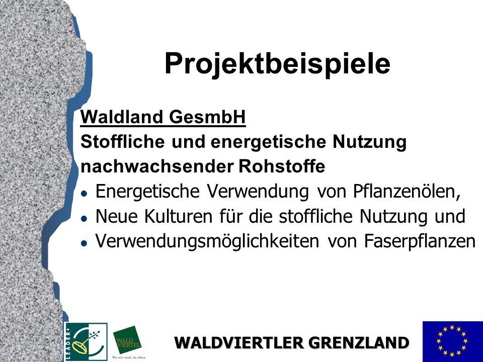 WALDVIERTLER GRENZLAND Projektbeispiele Waldland GesmbH Stoffliche und energetische Nutzung nachwachsender Rohstoffe l Energetische Verwendung von Pflanzenölen, l Neue Kulturen für die stoffliche Nutzung und l Verwendungsmöglichkeiten von Faserpflanzen