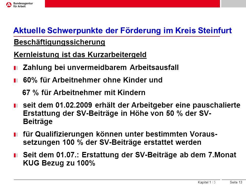 Seite 13 Aktuelle Schwerpunkte der Förderung im Kreis Steinfurt Beschäftigungssicherung Kernleistung ist das Kurzarbeitergeld Zahlung bei unvermeidbar