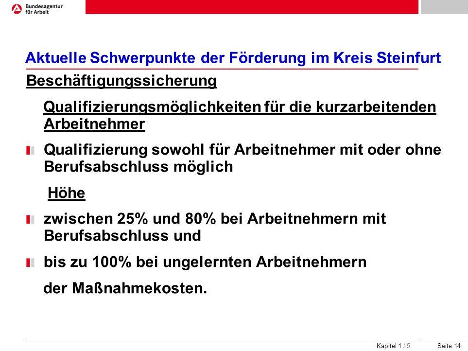 Seite 14 Aktuelle Schwerpunkte der Förderung im Kreis Steinfurt Beschäftigungssicherung Qualifizierungsmöglichkeiten für die kurzarbeitenden Arbeitneh