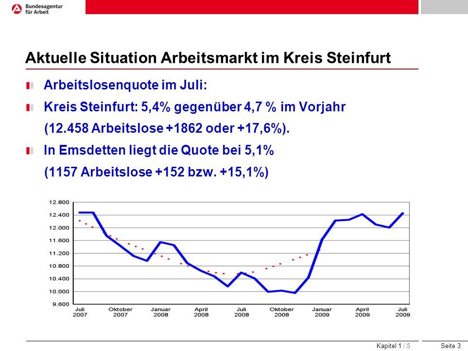 Seite 3 Aktuelle Situation Arbeitsmarkt im Kreis Steinfurt Arbeitslosenquote im Juli: Kreis Steinfurt: 5,4% gegenüber 4,7 % im Vorjahr (12.458 Arbeits