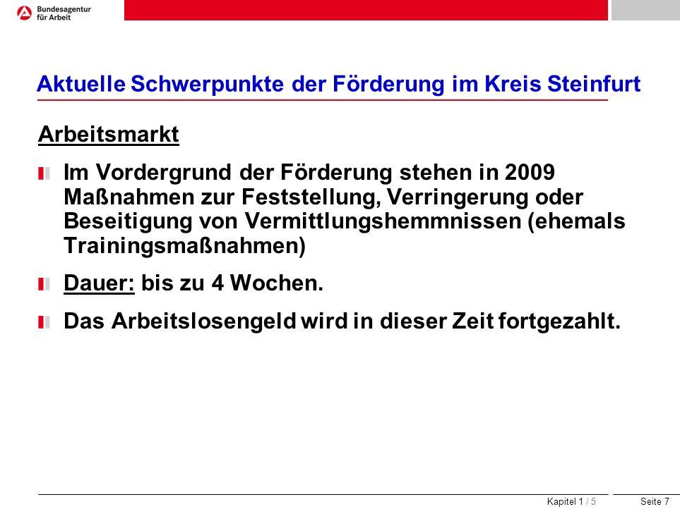 Seite 7 Aktuelle Schwerpunkte der Förderung im Kreis Steinfurt Arbeitsmarkt Im Vordergrund der Förderung stehen in 2009 Maßnahmen zur Feststellung, Ve