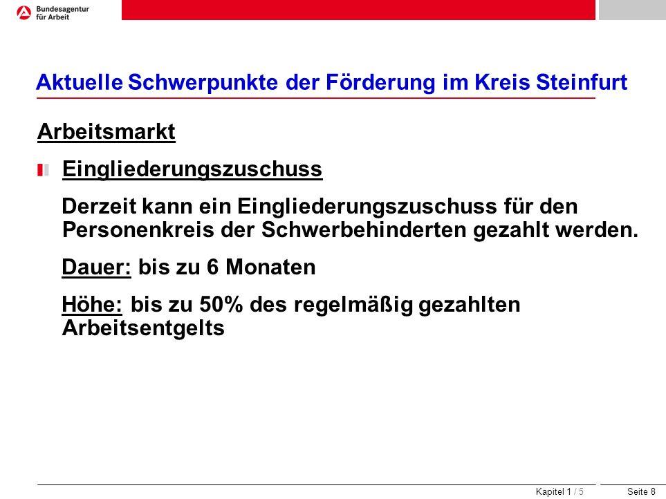 Seite 8 Aktuelle Schwerpunkte der Förderung im Kreis Steinfurt Arbeitsmarkt Eingliederungszuschuss Derzeit kann ein Eingliederungszuschuss für den Per