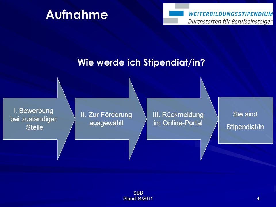 SBB Stand 04/2011 4 Wie werde ich Stipendiat/in.Sie sind Stipendiat/in Aufnahme I.