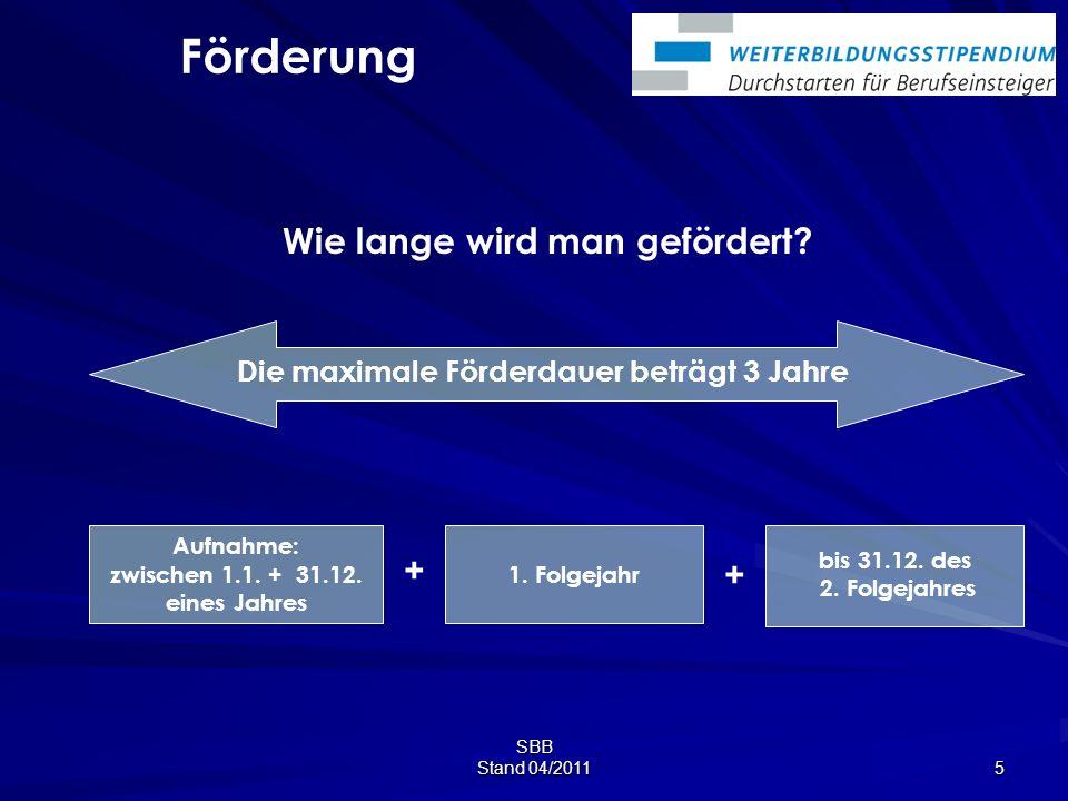 SBB Stand 04/2011 5 Wie lange wird man gefördert.bis 31.12.