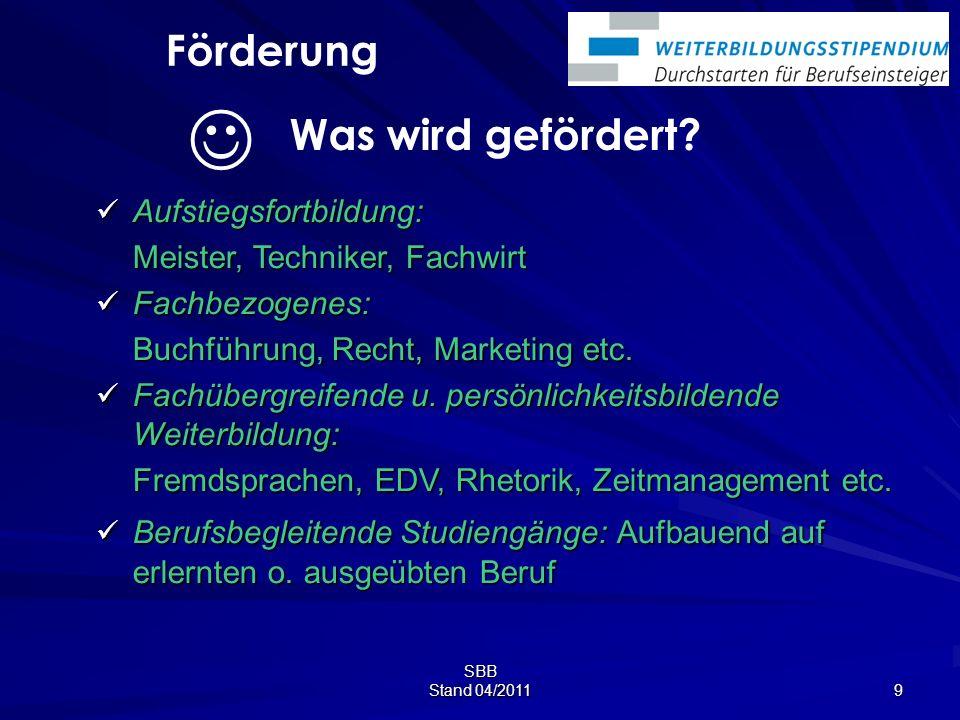 SBB Stand 04/2011 9 Aufstiegsfortbildung: Aufstiegsfortbildung: Meister, Techniker, Fachwirt Fachbezogenes: Fachbezogenes: Buchführung, Recht, Marketing etc.