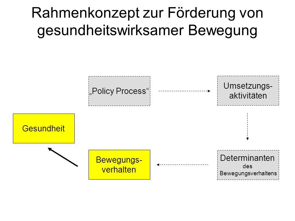 Rahmenkonzept zur Förderung von gesundheitswirksamer Bewegung Policy Process Bewegungs- verhalten Determinanten des Bewegungsverhaltens Umsetzungs- ak