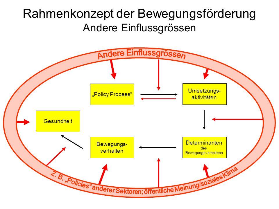 Rahmenkonzept der Bewegungsförderung Andere Einflussgrössen Bewegungs- verhalten Gesundheit Determinanten des Bewegungsverhaltens Umsetzungs- aktivitä