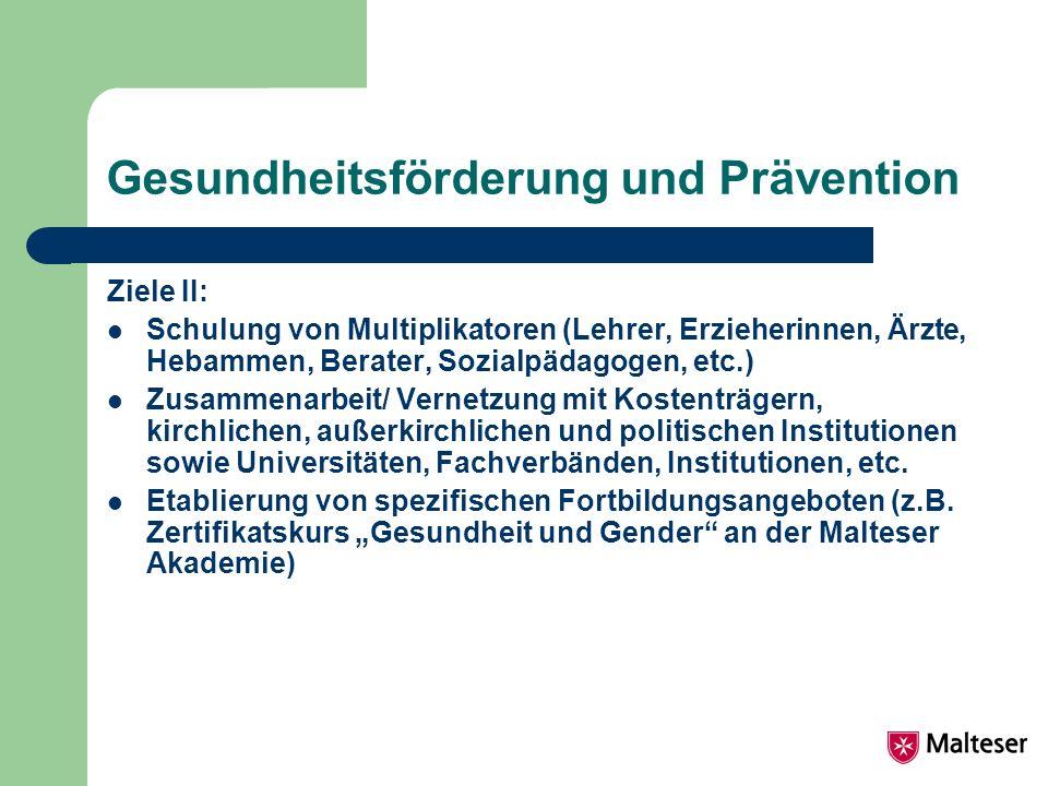 Zielgruppen der Arbeit Kinder und Jugendliche Frauen (Lebensphasenspezifisch) Männer Familie Senioren (Betriebe)
