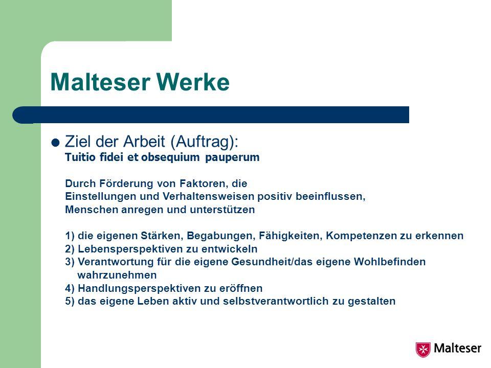 Malteser Werke Ziel der Arbeit (Auftrag): Tuitio fidei et obsequium pauperum Durch Förderung von Faktoren, die Einstellungen und Verhaltensweisen posi