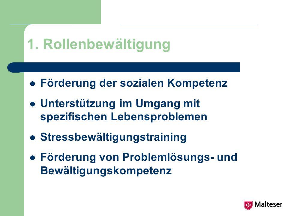 1. Rollenbewältigung Förderung der sozialen Kompetenz Unterstützung im Umgang mit spezifischen Lebensproblemen Stressbewältigungstraining Förderung vo