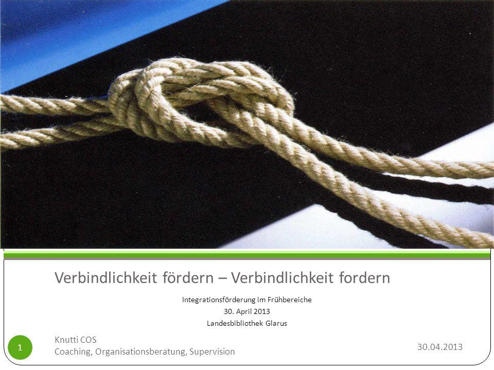 Verbindlichkeit fördern – Verbindlichkeit fordern Integrationsförderung im Frühbereiche 30. April 2013 Landesbibliothek Glarus 30.04.2013 Knutti COS C