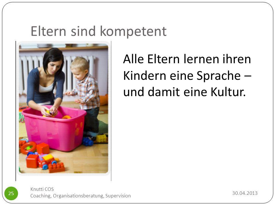 Eltern sind kompetent 30.04.2013 Knutti COS Coaching, Organisationsberatung, Supervision 25 Alle Eltern lernen ihren Kindern eine Sprache – und damit