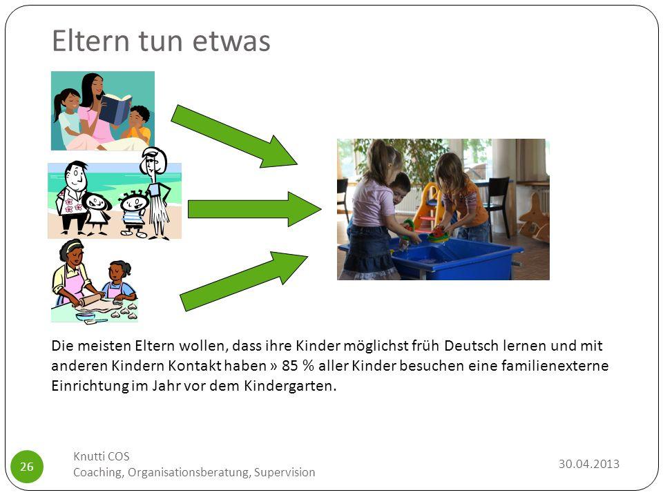 Eltern tun etwas Die meisten Eltern wollen, dass ihre Kinder möglichst früh Deutsch lernen und mit anderen Kindern Kontakt haben » 85 % aller Kinder b