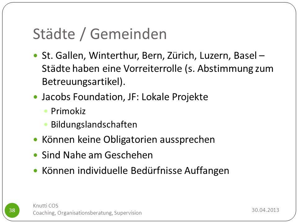 Städte / Gemeinden 30.04.2013 Knutti COS Coaching, Organisationsberatung, Supervision 38 St. Gallen, Winterthur, Bern, Zürich, Luzern, Basel – Städte
