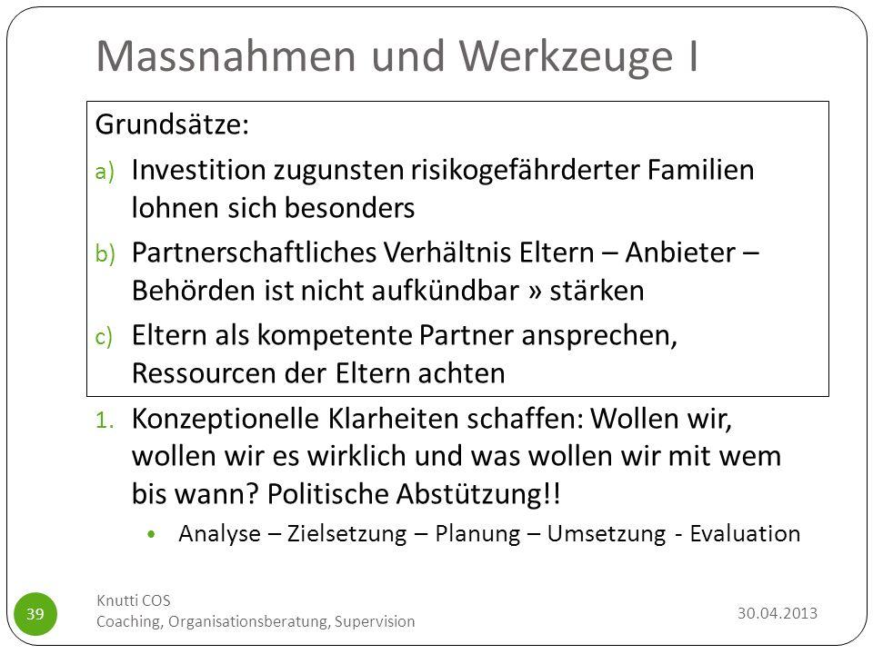 Massnahmen und Werkzeuge I 30.04.2013 Knutti COS Coaching, Organisationsberatung, Supervision 39 Grundsätze: a) Investition zugunsten risikogefährdert