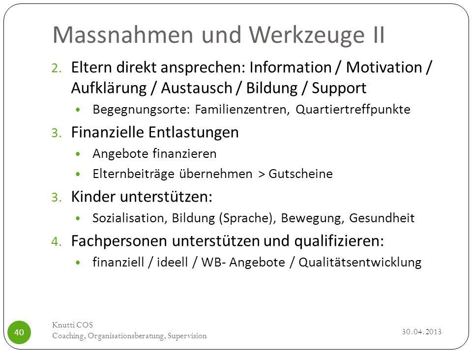 Massnahmen und Werkzeuge II 30.04.2013 Knutti COS Coaching, Organisationsberatung, Supervision 40 2. Eltern direkt ansprechen: Information / Motivatio