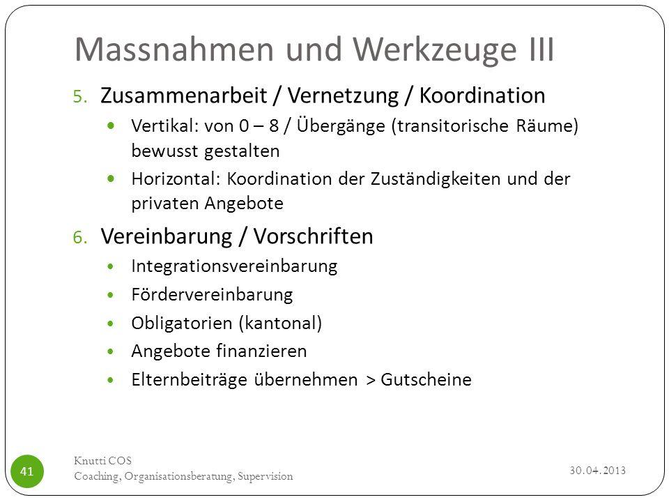 Massnahmen und Werkzeuge III 30.04.2013 Knutti COS Coaching, Organisationsberatung, Supervision 41 5. Zusammenarbeit / Vernetzung / Koordination Verti