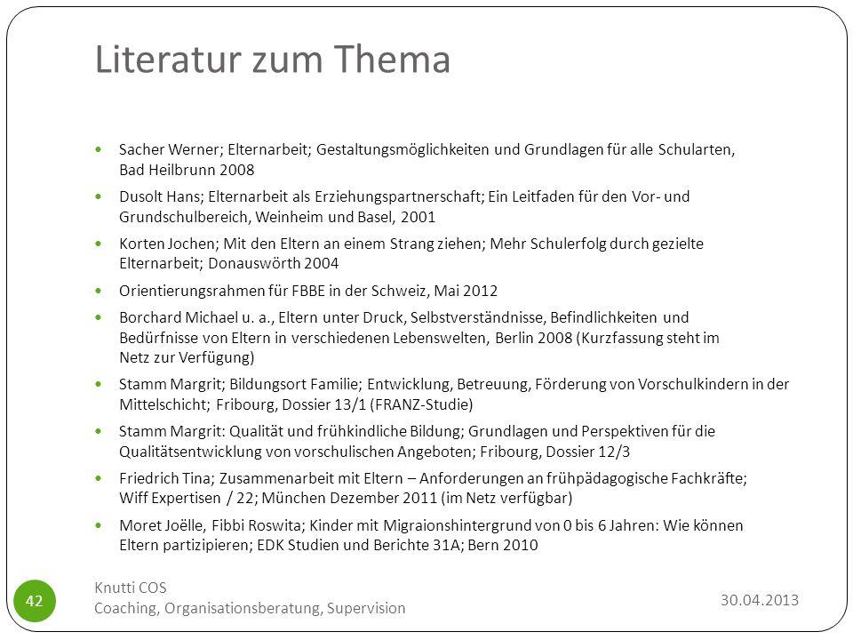 Literatur zum Thema 30.04.2013 Knutti COS Coaching, Organisationsberatung, Supervision 42 Sacher Werner; Elternarbeit; Gestaltungsmöglichkeiten und Gr