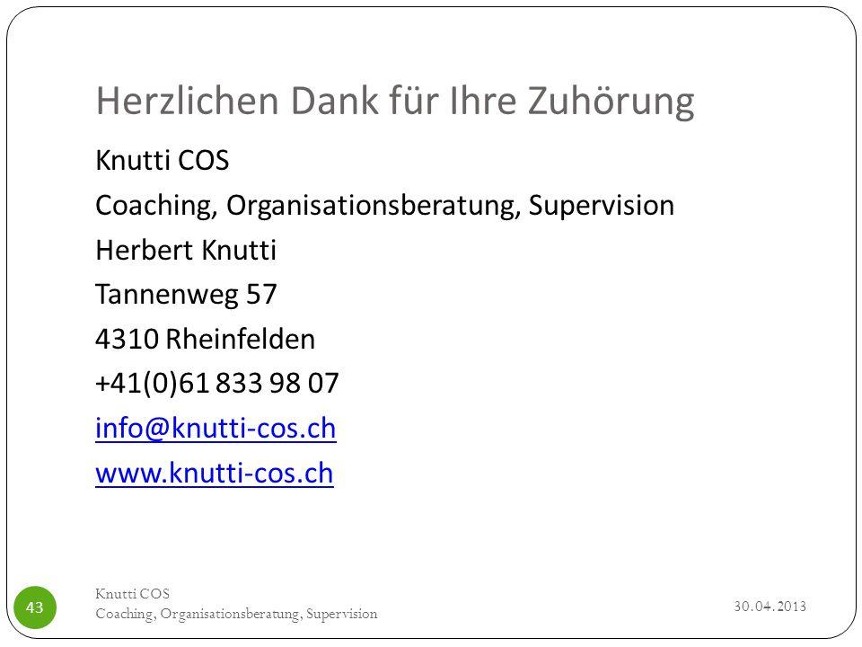 Herzlichen Dank für Ihre Zuhörung Knutti COS Coaching, Organisationsberatung, Supervision Herbert Knutti Tannenweg 57 4310 Rheinfelden +41(0)61 833 98