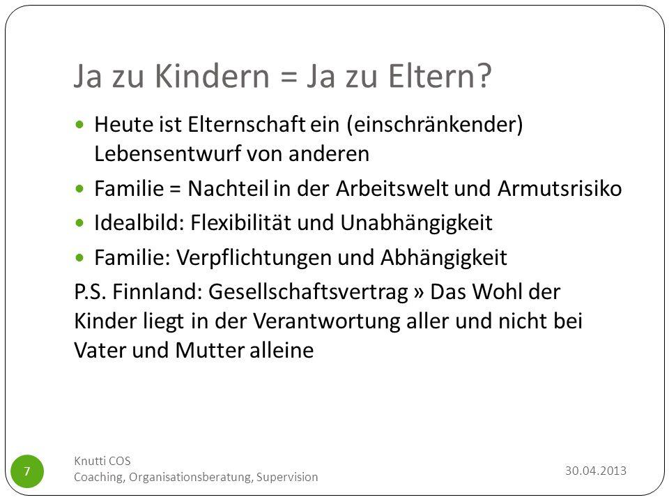 Ja zu Kindern = Ja zu Eltern? 30.04.2013 Knutti COS Coaching, Organisationsberatung, Supervision 7 Heute ist Elternschaft ein (einschränkender) Lebens