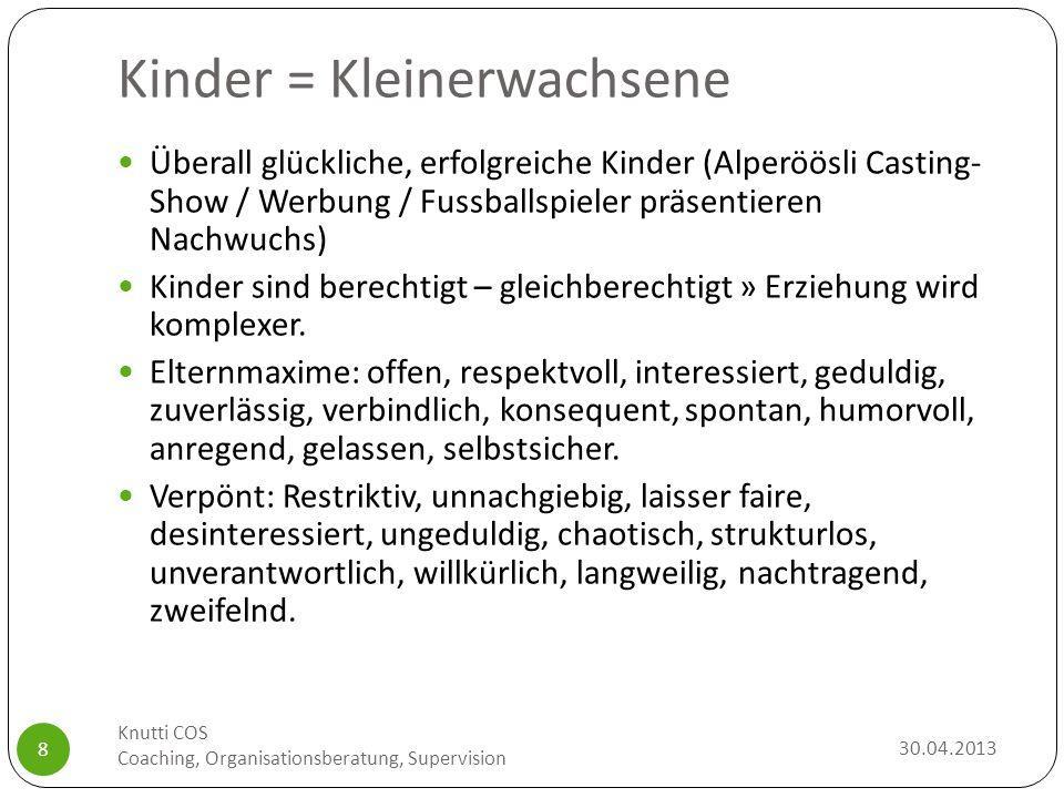 Ausreichende Deutschkenntnisse 30.04.2013 Knutti COS Coaching, Organisationsberatung, Supervision 29 Ausreichende Deutschkenntnisse = Normwert der monolingual deutschsprachigen Kinder, die 6 Monate jünger sind.