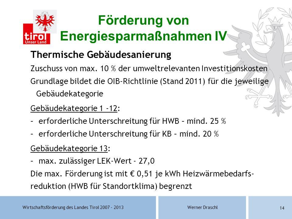 Wirtschaftsförderung des Landes Tirol 2007 – 2013Werner Draschl 14 Thermische Gebäudesanierung Zuschuss von max. 10 % der umweltrelevanten Investition