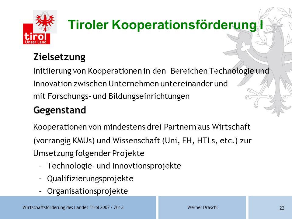 Wirtschaftsförderung des Landes Tirol 2007 – 2013Werner Draschl 22 Zielsetzung Initiierung von Kooperationen in den Bereichen Technologie und Innovati