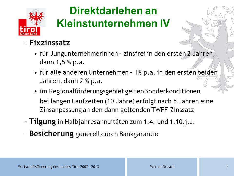 Wirtschaftsförderung des Landes Tirol 2007 – 2013Werner Draschl 7 –Fixzinssatz für JungunternehmerInnen – zinsfrei in den ersten 2 Jahren, dann 1,5 %