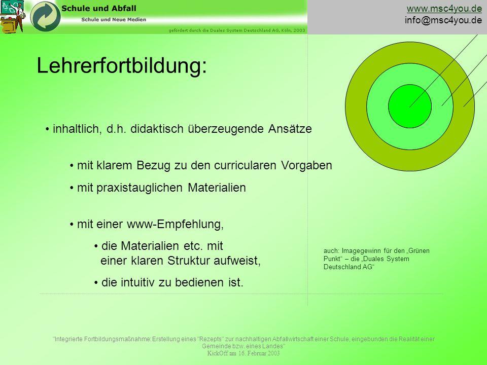 Integrierte Fortbildungsmaßnahme: Erstellung eines Rezepts zur nachhaltigen Abfallwirtschaft einer Schule, eingebunden die Realität einer Gemeinde bzw.