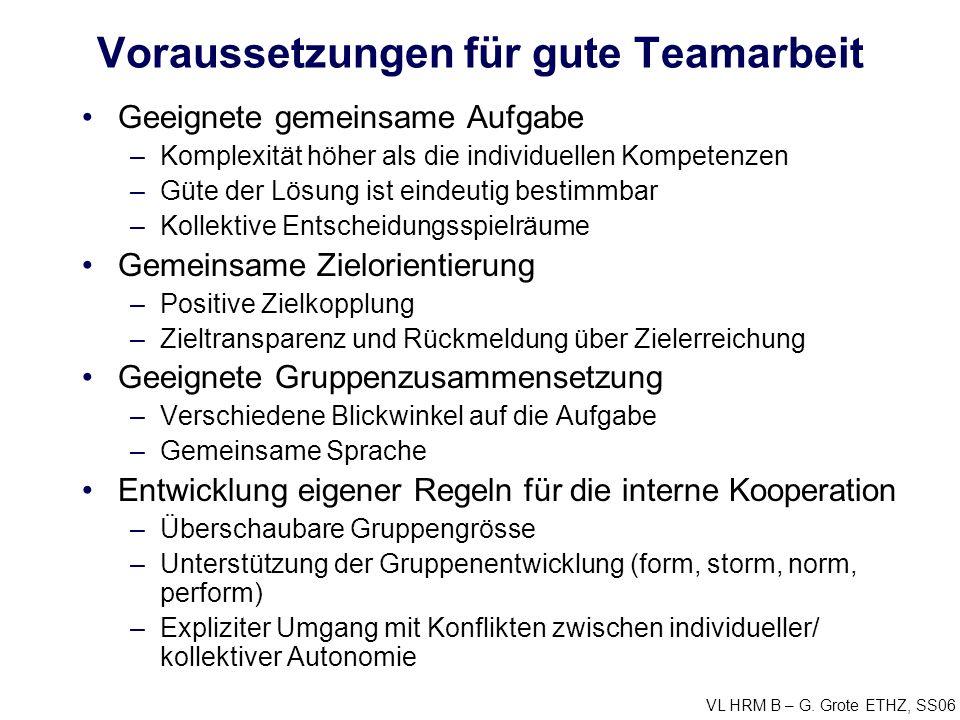 VL HRM B – G. Grote ETHZ, SS06 Voraussetzungen für gute Teamarbeit Geeignete gemeinsame Aufgabe –Komplexität höher als die individuellen Kompetenzen –