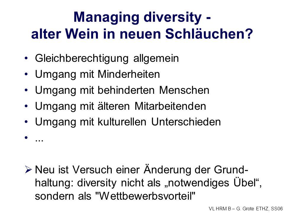 VL HRM B – G. Grote ETHZ, SS06 Managing diversity - alter Wein in neuen Schläuchen? Gleichberechtigung allgemein Umgang mit Minderheiten Umgang mit be