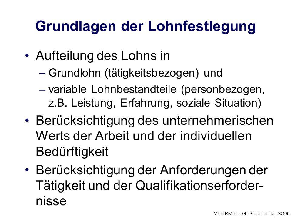 VL HRM B – G. Grote ETHZ, SS06 Grundlagen der Lohnfestlegung Aufteilung des Lohns in –Grundlohn (tätigkeitsbezogen) und –variable Lohnbestandteile (pe